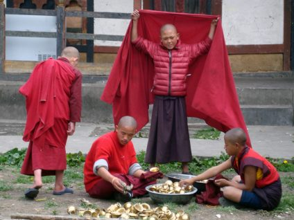 Monks at Tamshing Goemba (photograph by the author)