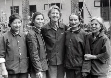 Isabel Hilton (centre) and Yi Xiji (far right) with three local friends