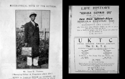 I. B. Thomas and an advertisement for his book.